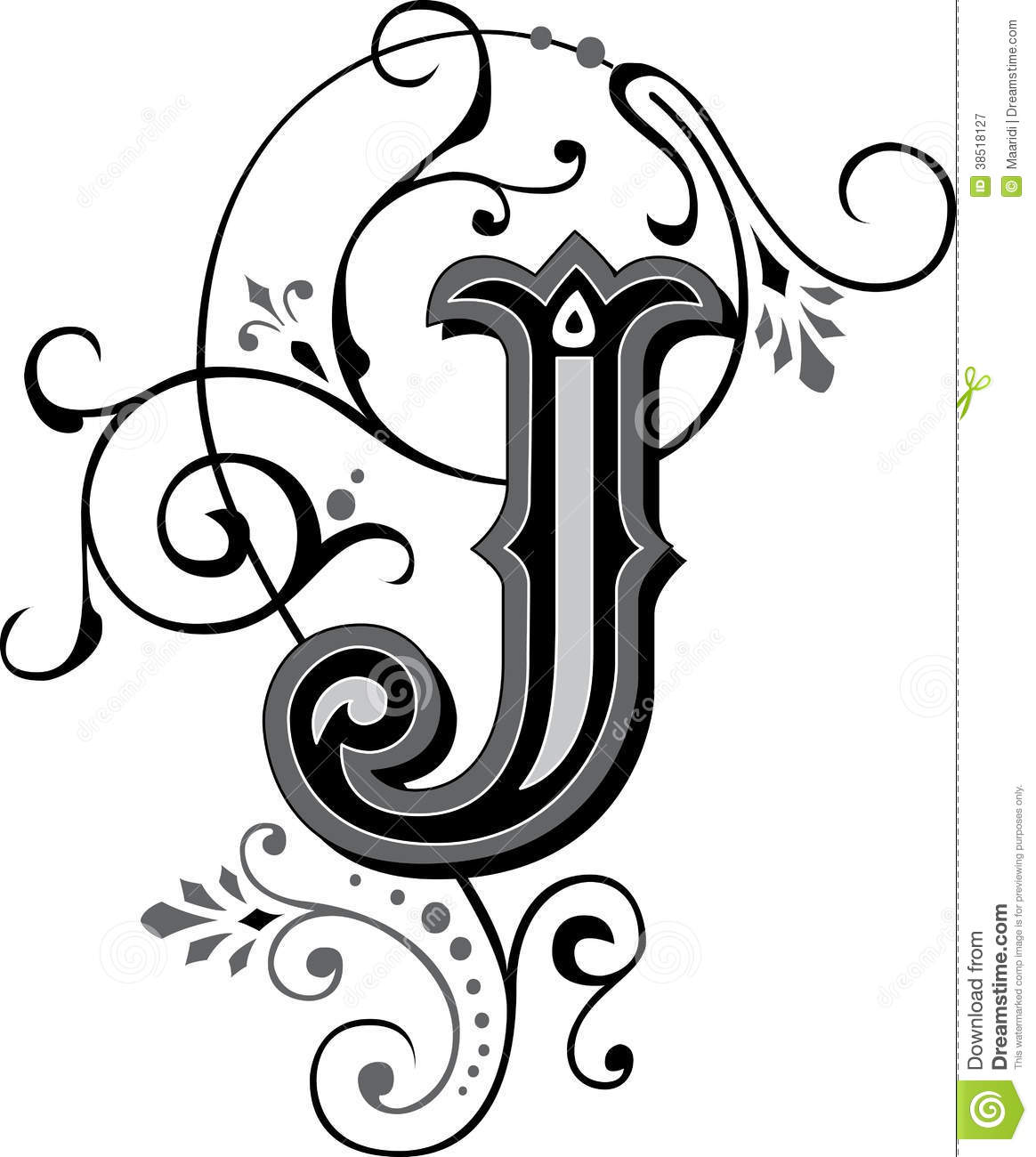 beautiful ornament letter j