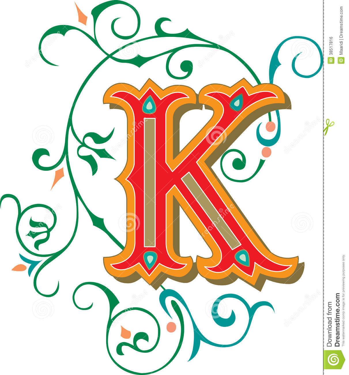 Beautiful Ornament, Letter K Royalty Free Stock Image - Image ...