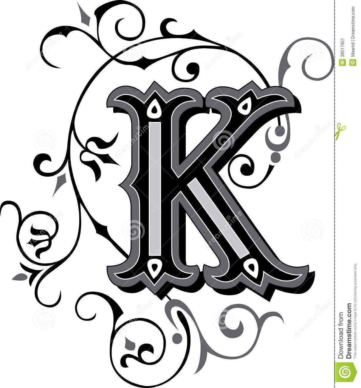beautiful ornament letter k