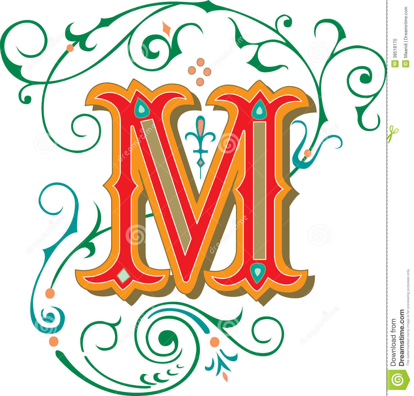 Beautiful Ornament Letter M Stock Vector Illustration Of Draw