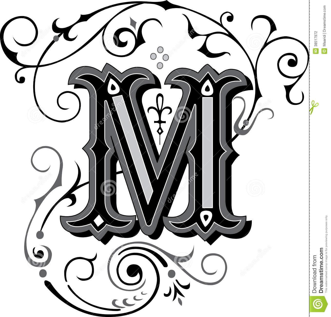 Beautiful Ornament Letter M Stock