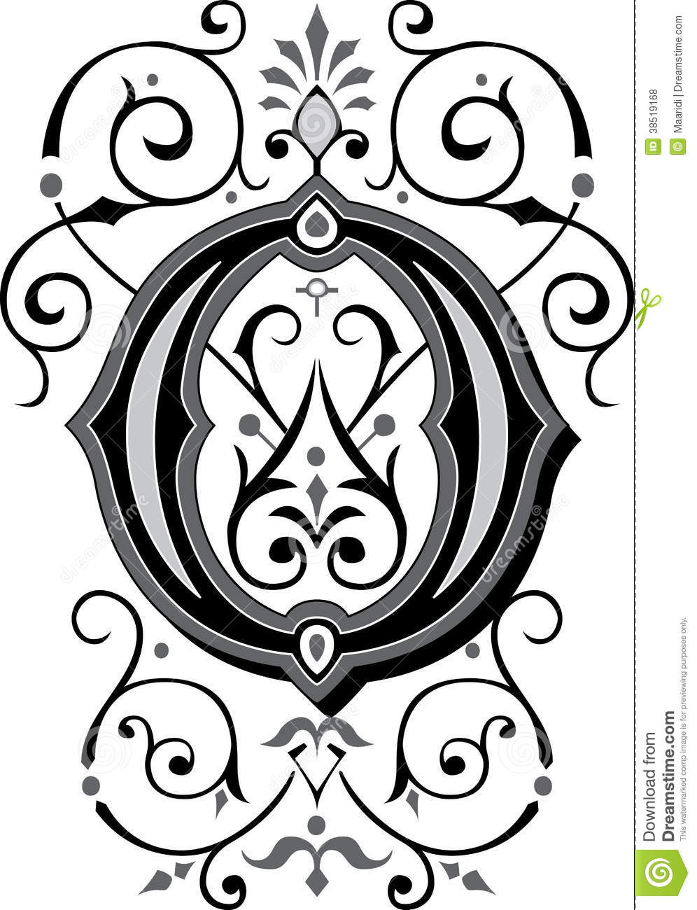 beautiful ornament letter o