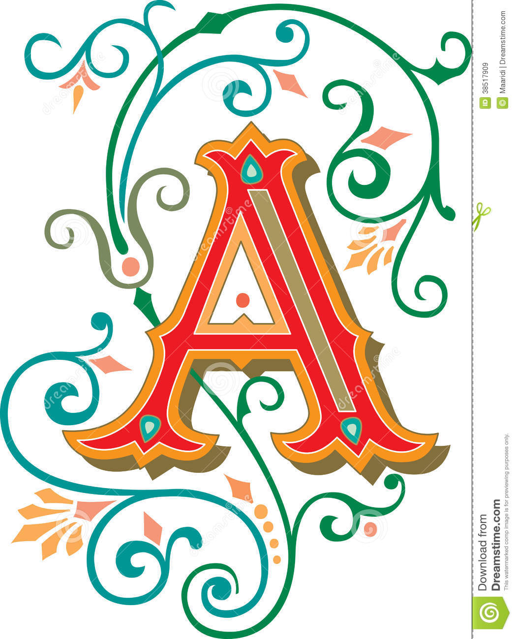 Beautiful Ornament Letter A Stock Vector Illustration Of Alphabet