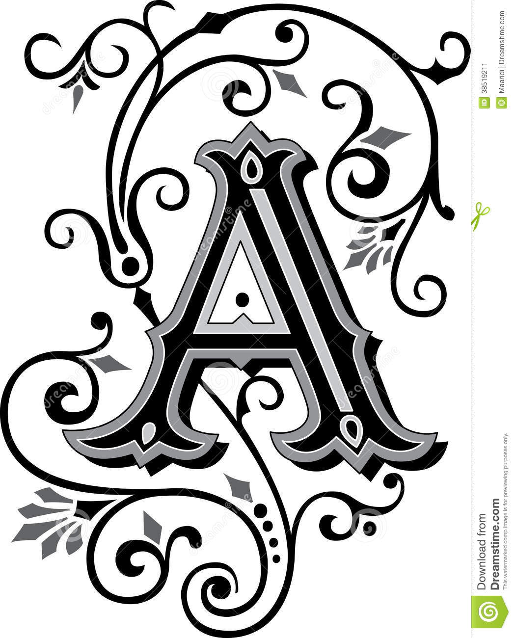 beautiful ornament letter a