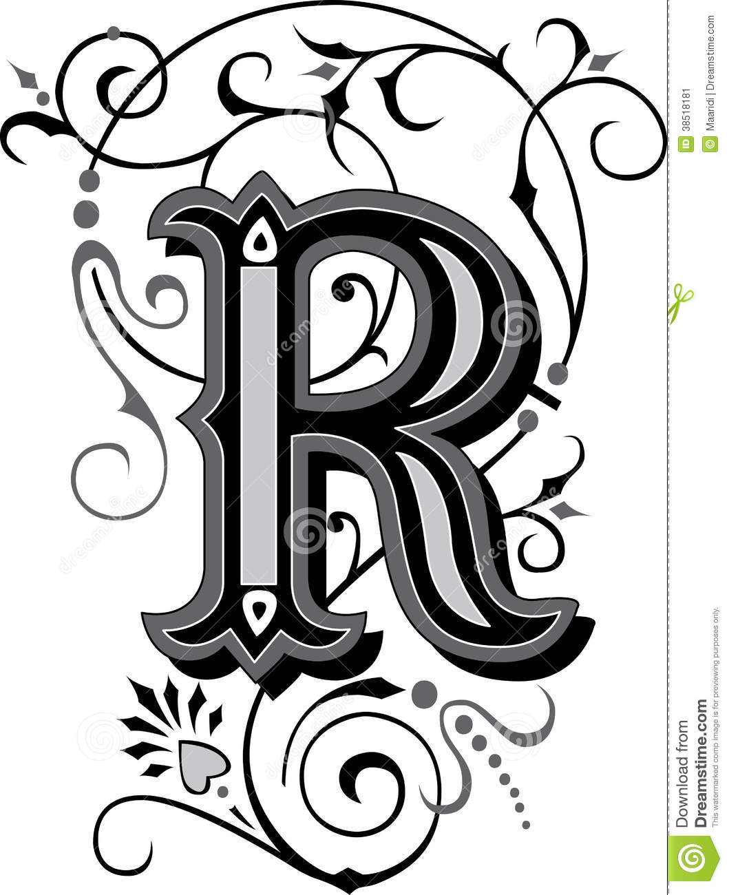 beautiful ornament letter r