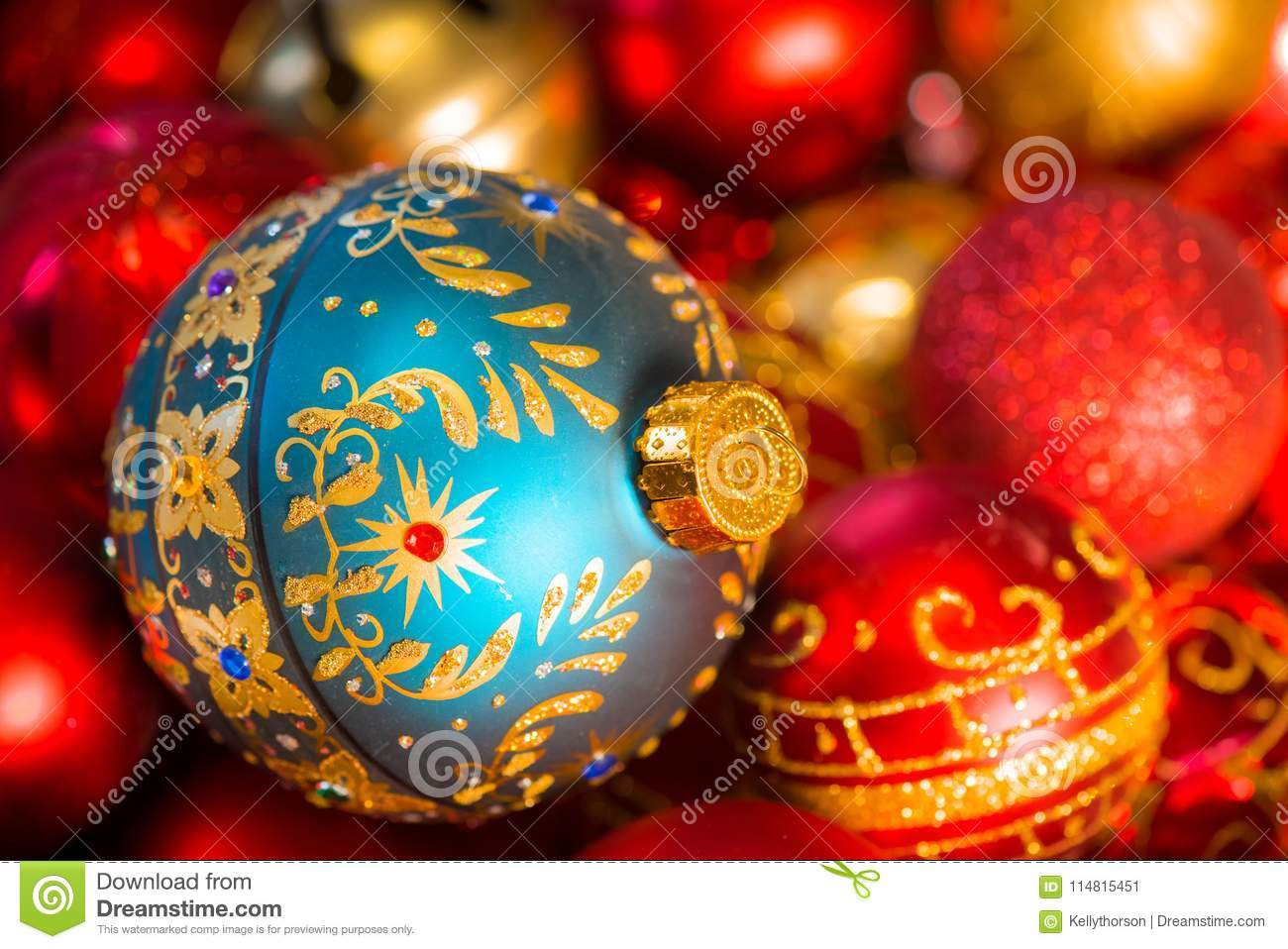 Fancy Teal Christmas Tree Ornament With Red And Gold Decorations Stock Image Image Of Smaller Turquoise 114815451