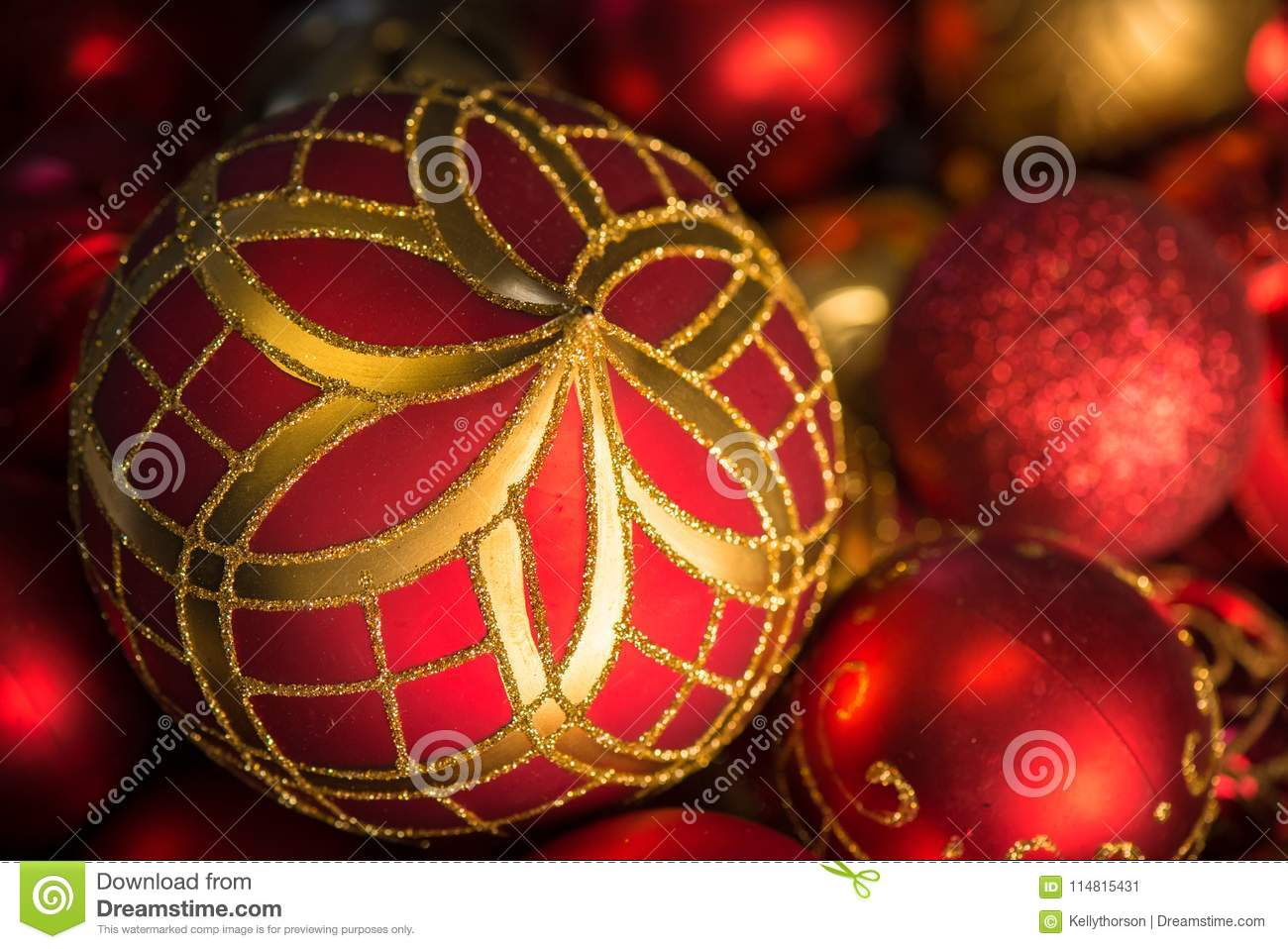 Fancy Red And Gold Christmas Tree Ornaments Stock Image Image Of Glitter Seasonal 114815431