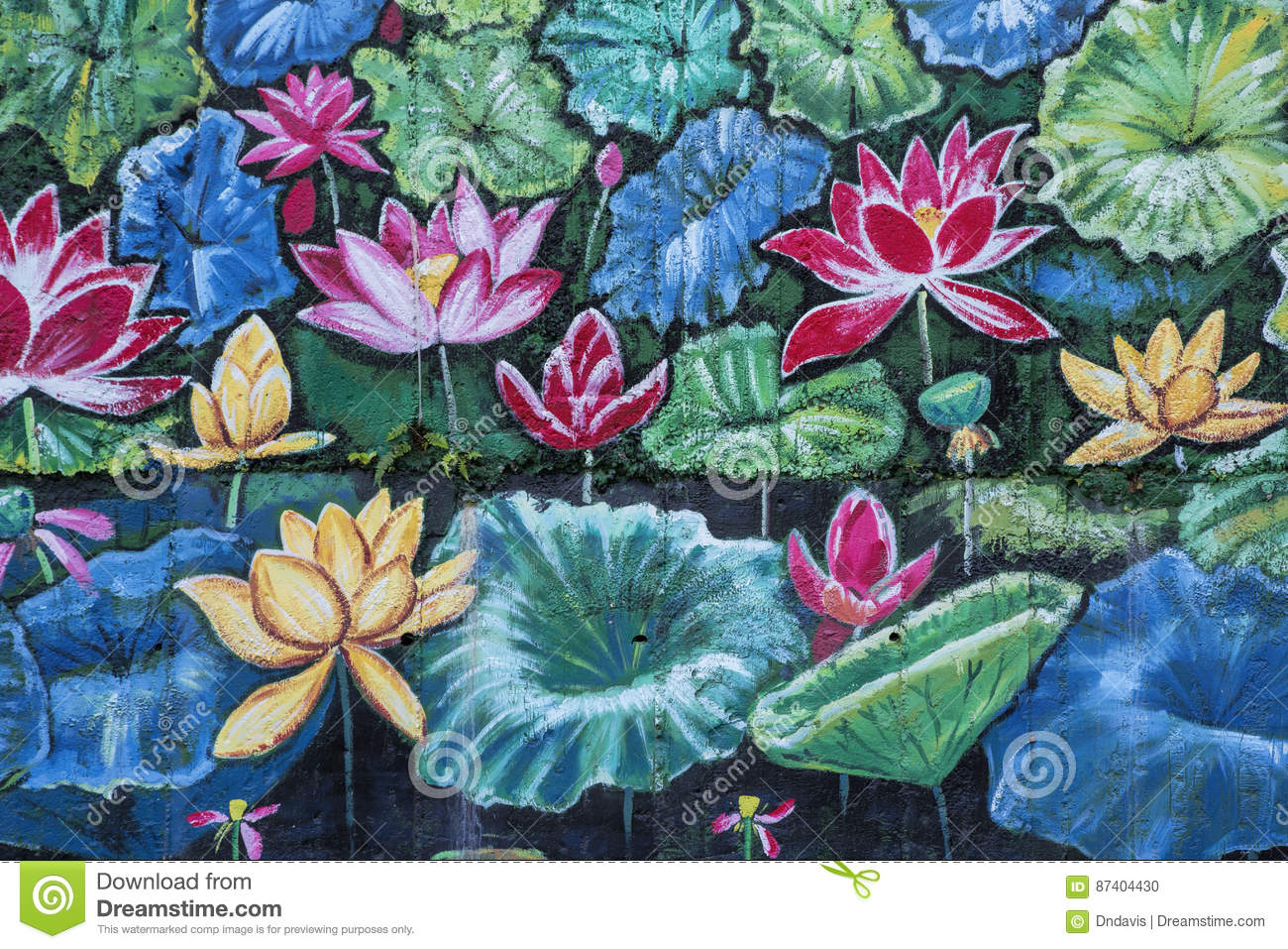 Beautiful Outdoor Mural Of Flowers Stock Photo Image Of Exterior