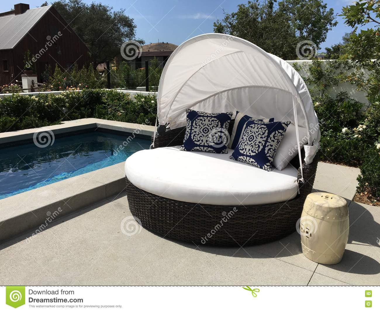 Attirant Download Beautiful Outdoor Patio Pool And Cabana Stock Photo   Image Of  Above, Couch: