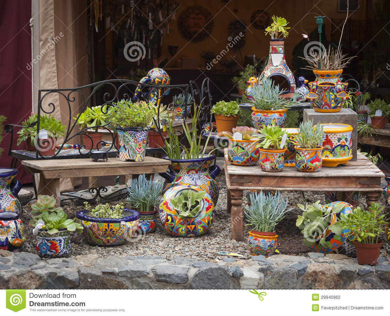 Royalty Free Stock Photo  Download Outdoor Shop Of Decorative. Outdoor Shop Of Decorative Pots And Succulents Stock Photography