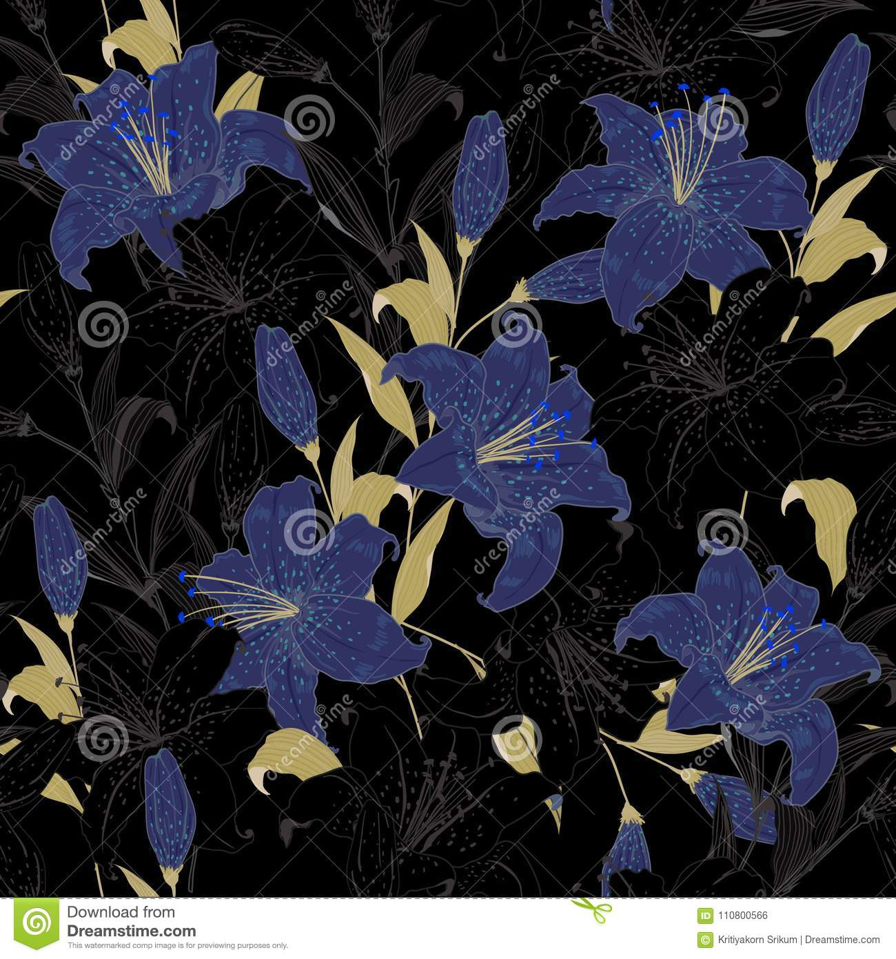 Beautiful Outline Garden Night Floral Pattern Blue Lily Flowers