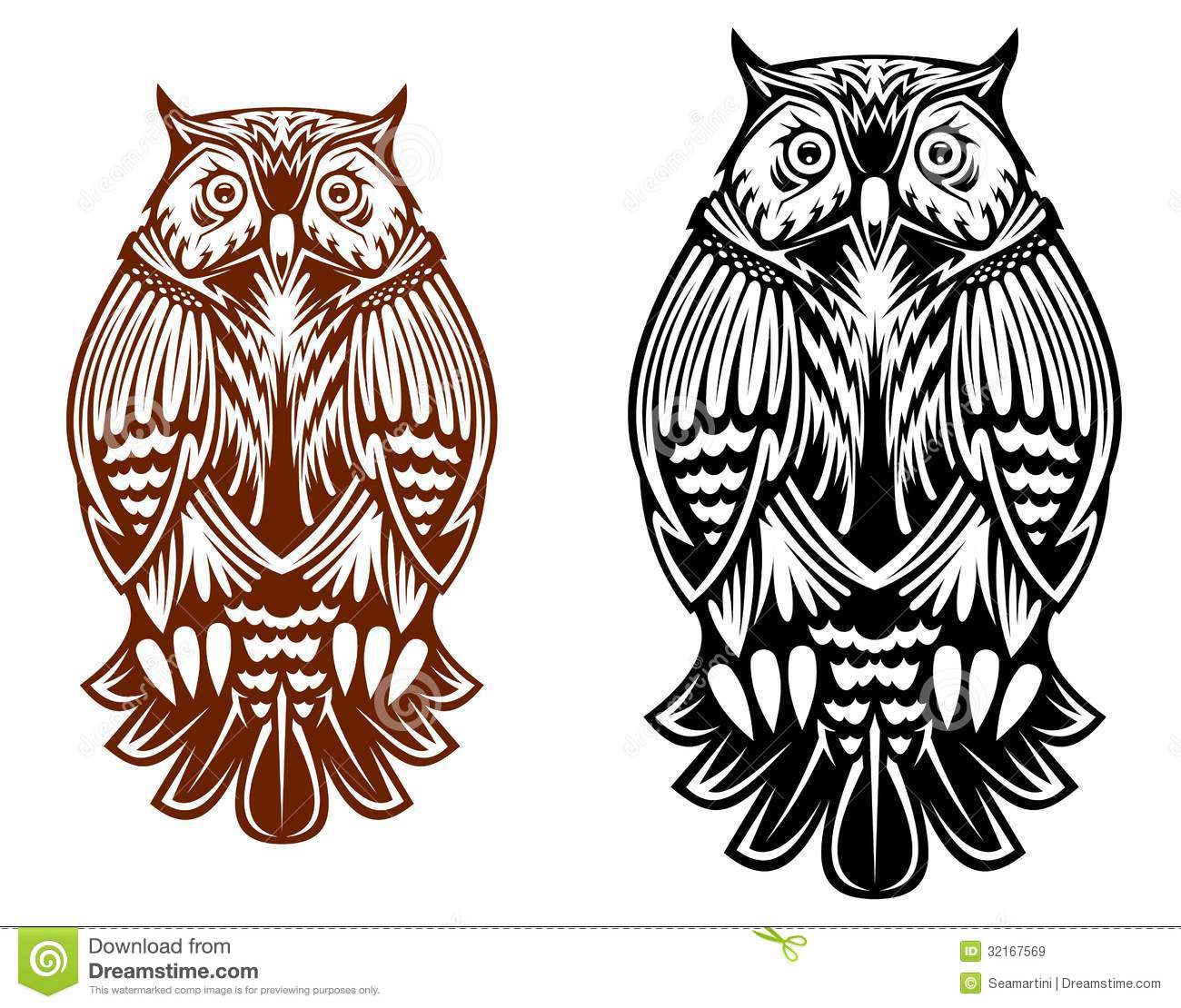 Tattoo Designs White Background: Beautiful Owl Mascot Stock Vector. Illustration Of