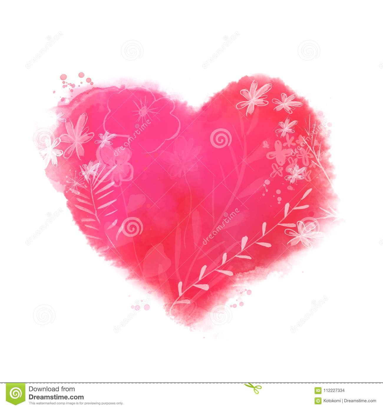 Beautiful Painted Heart With Flowers And Leaves Love Symbol For