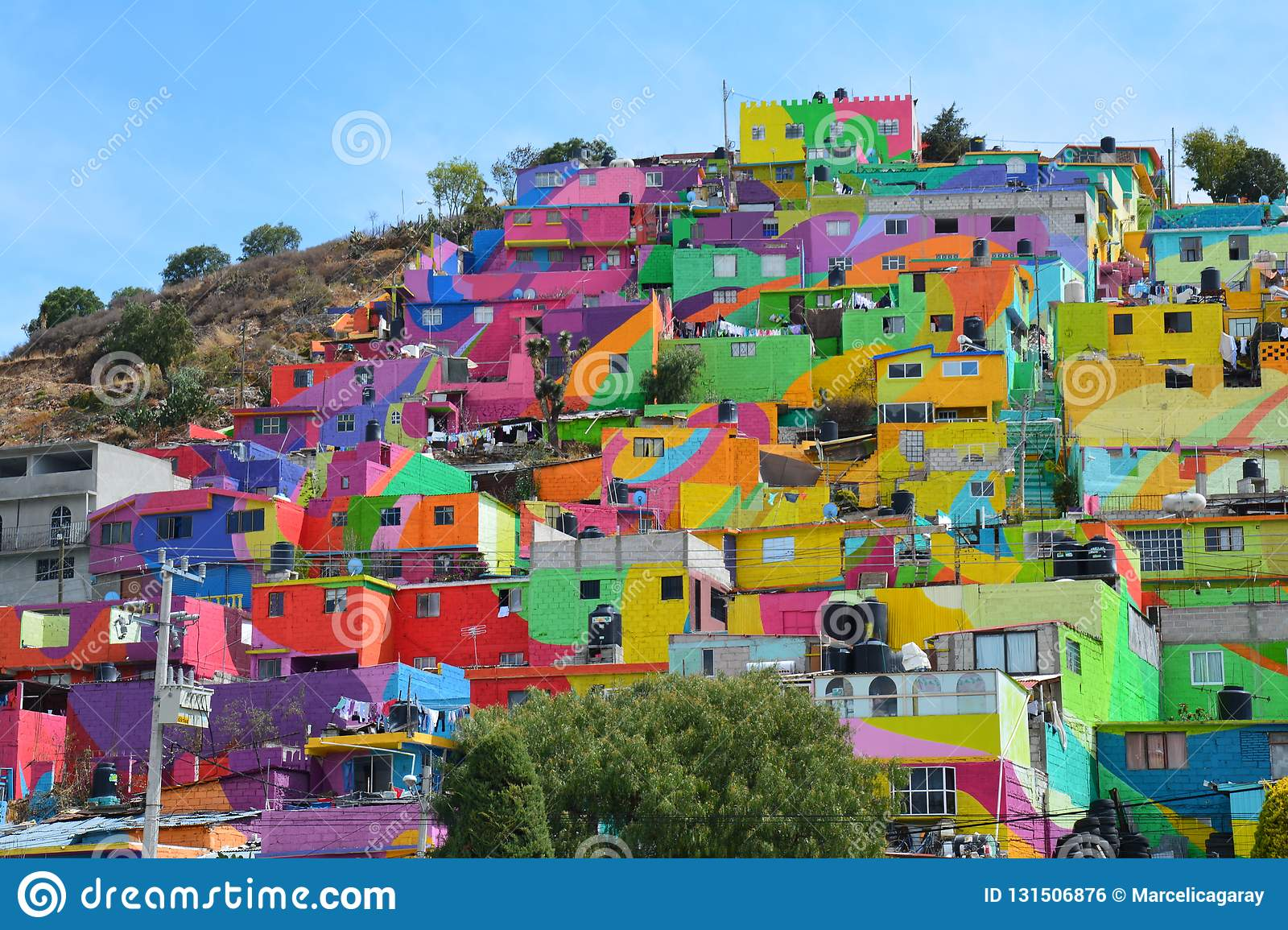 Amazing Colorful Houses Pachuca Mexico Stock Photo Image Of Mexico