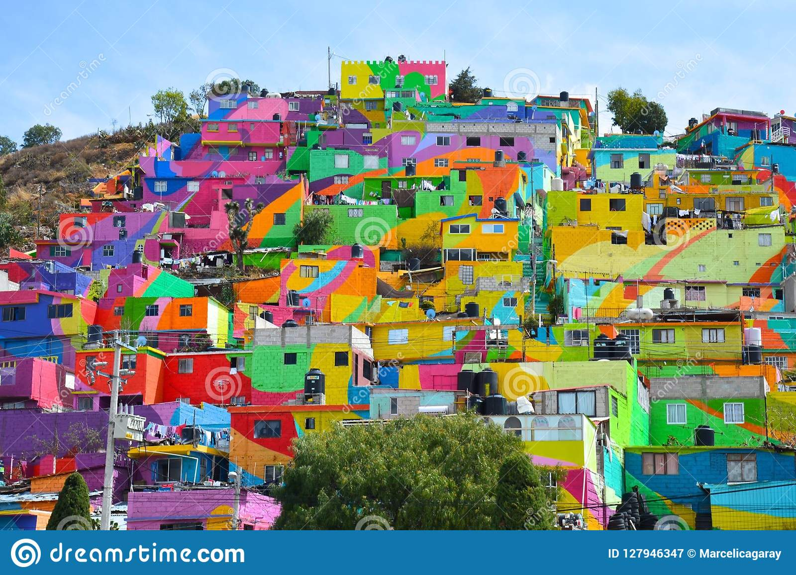 Colorful Houses Pachuca Mexico Stock Image Image Of Houses