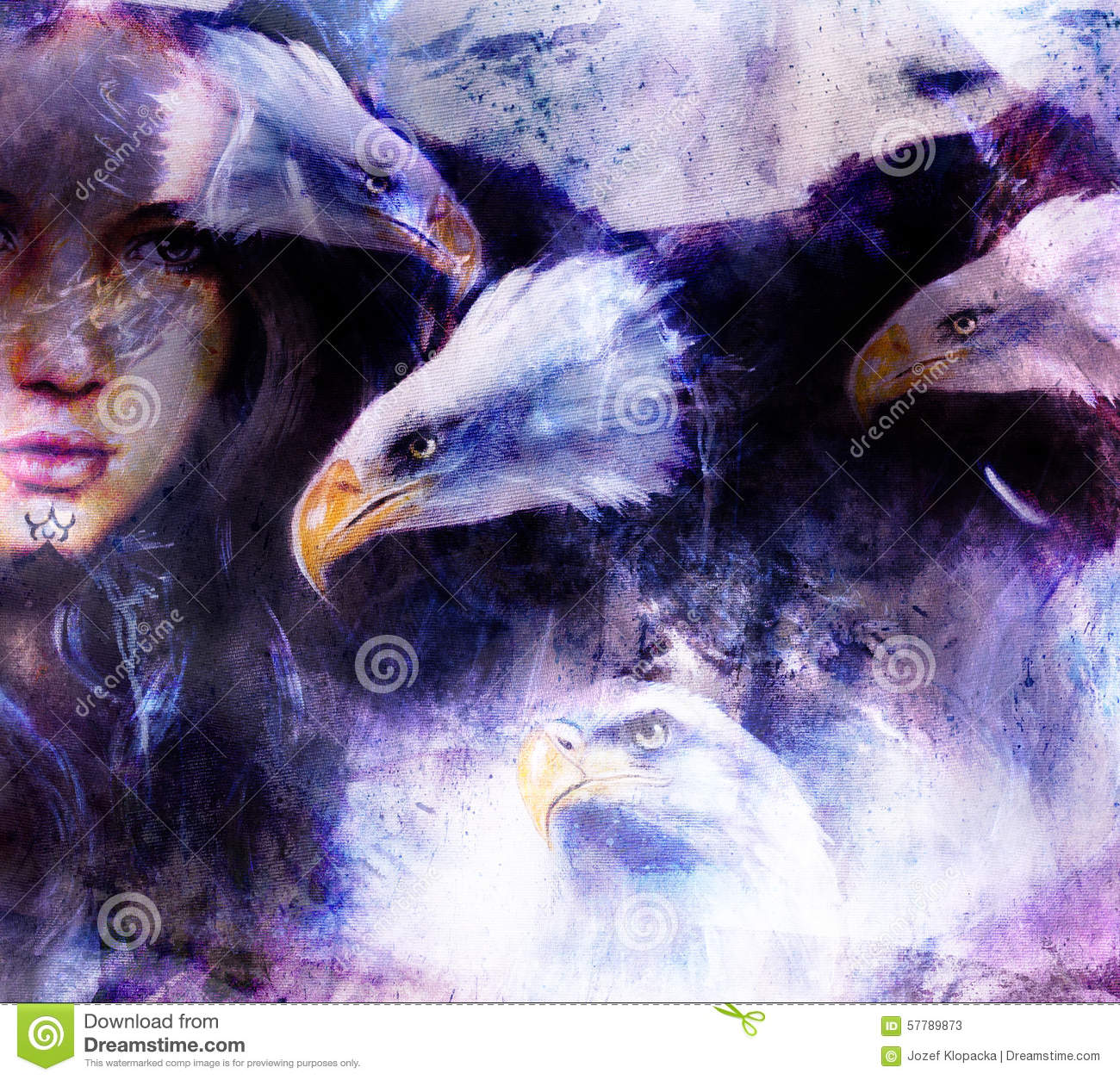Beautiful Painting Woman With A Flying Eagle Beautiful ...