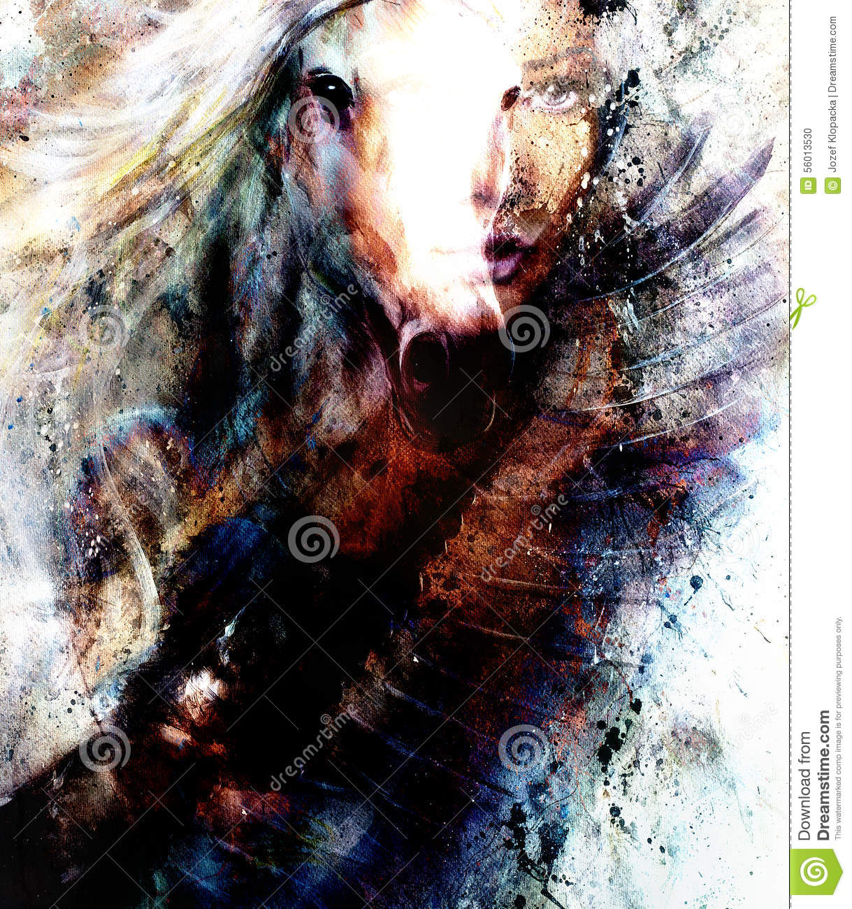 Beautiful Painting Woman And Horse With A Flying Eagle Beautiful Painting Illustration Collage Stock Illustration Illustration Of Beauty Back 56013530