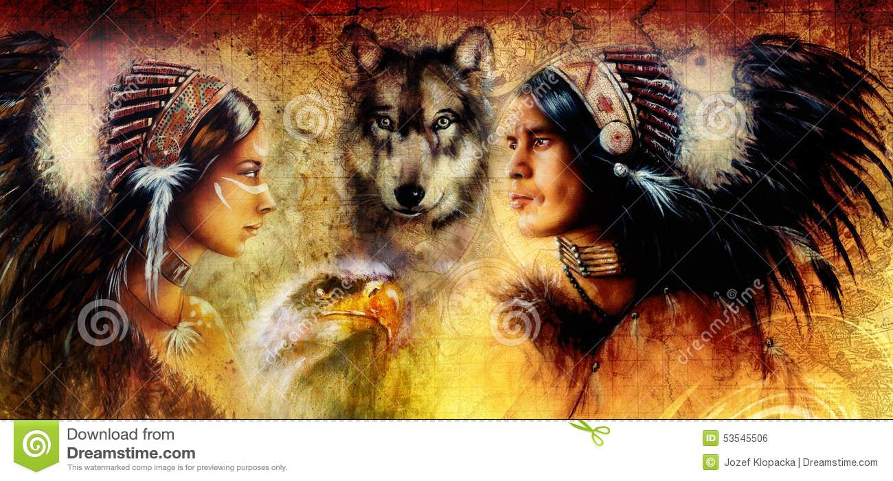 Beautiful painting of an young indian man and woman accompanied with wolf and eagle on yellow ornament background.