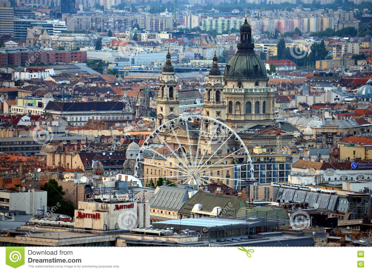 Beautiful Panorama Aerial view of St. Stephen s Basilica Big dome, Ferris wheel and rooftops