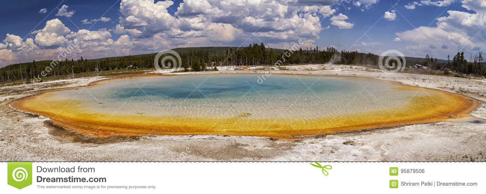 Beautiful panorama of Sunset lake at Black Sand Basin in Yellowstone National Park