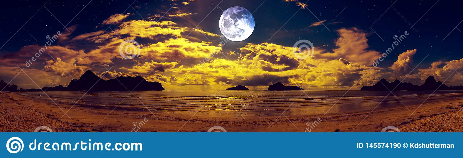 Beautiful panorama view of the sea. Colorful blue sky with cloud and bright full moon on seascape to night