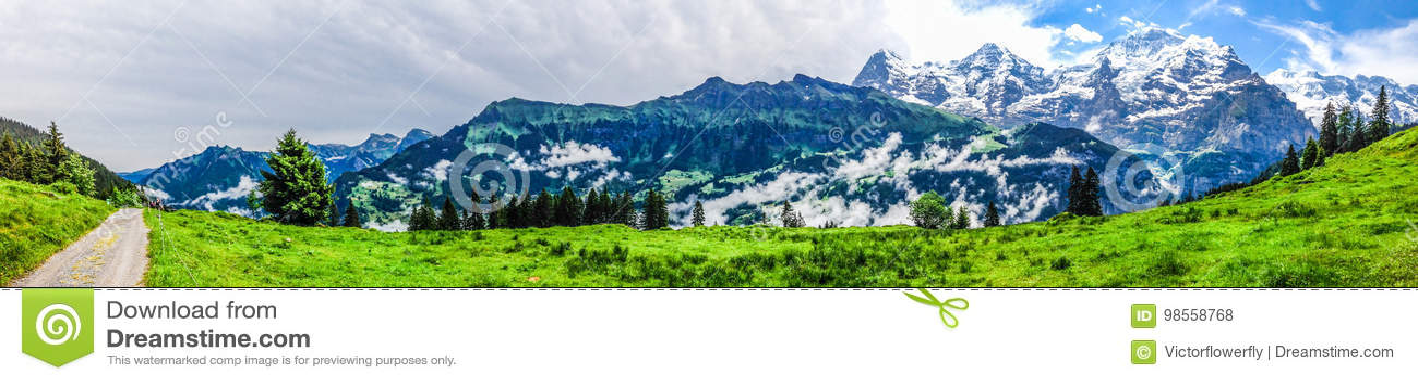Beautiful Panorama view of Swiss Alps mountains from Murren