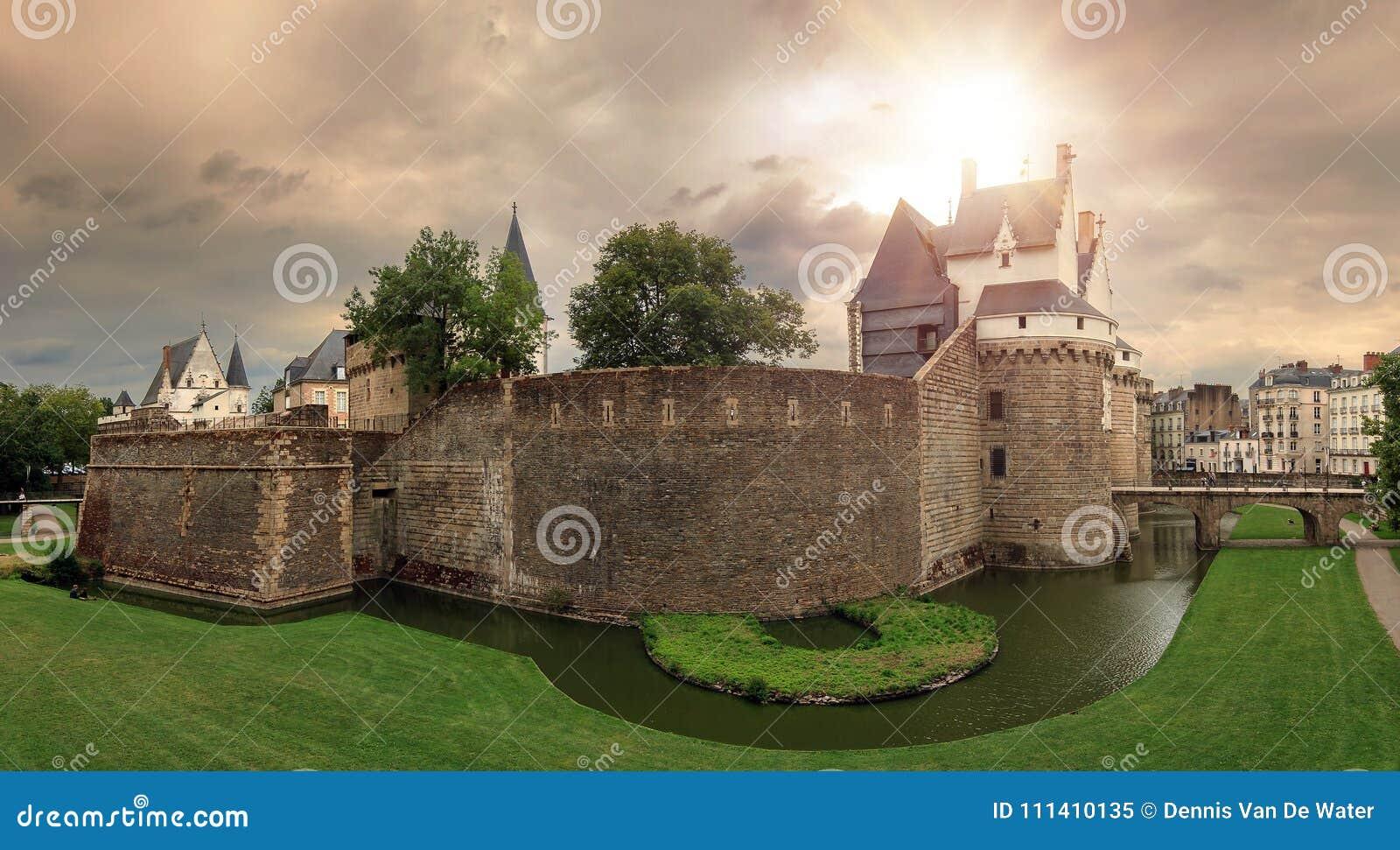 Nantes castle ominous sky panorama