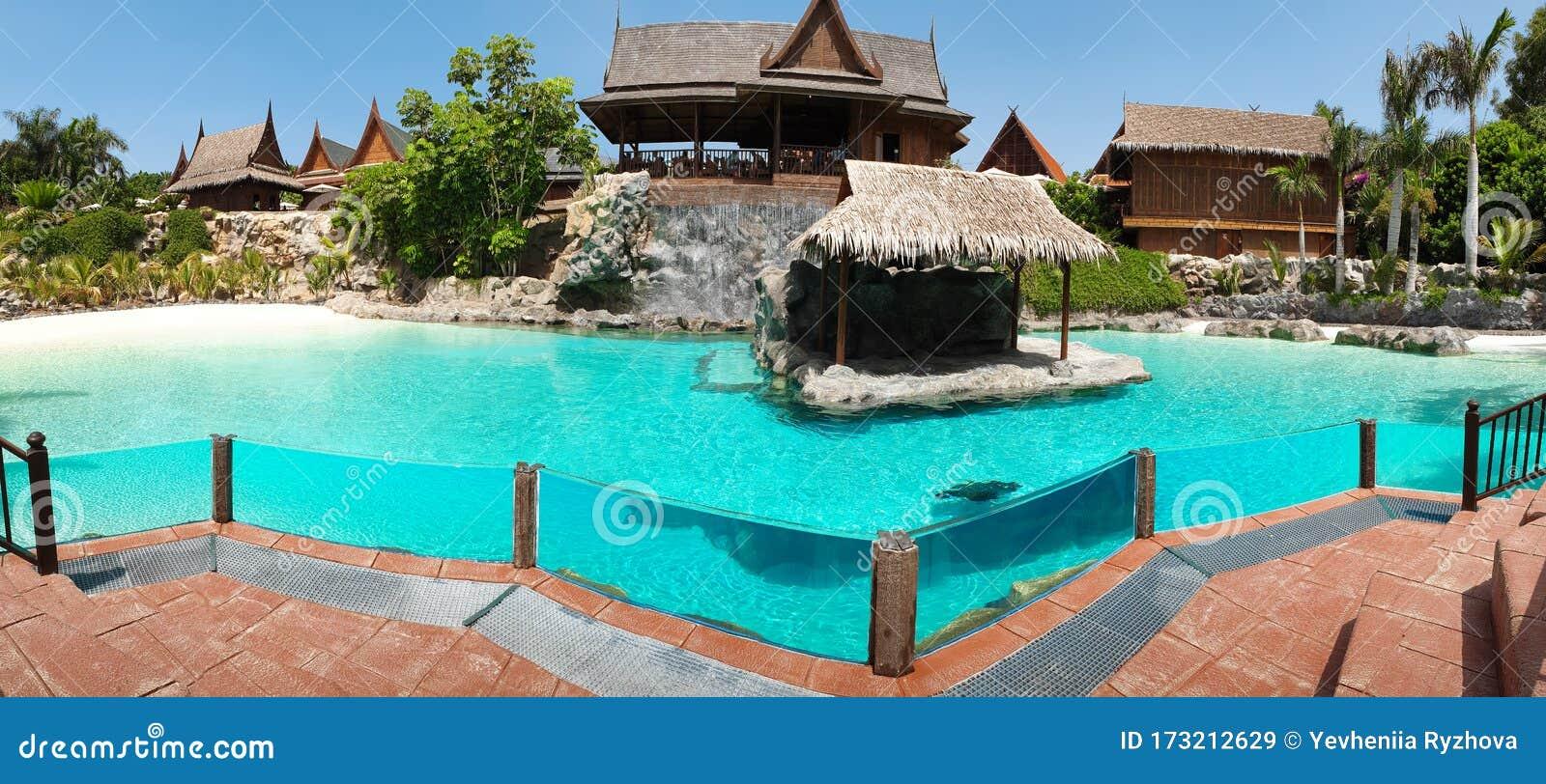 Beautiful Panoramic Photo Of Swimming Pool At The Luxurious Villa