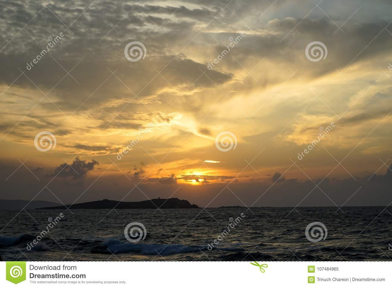 Beautiful panoramic sunset copyspace seaview with beautiful shades of soft wide orange and blue color sky and abstract cloud