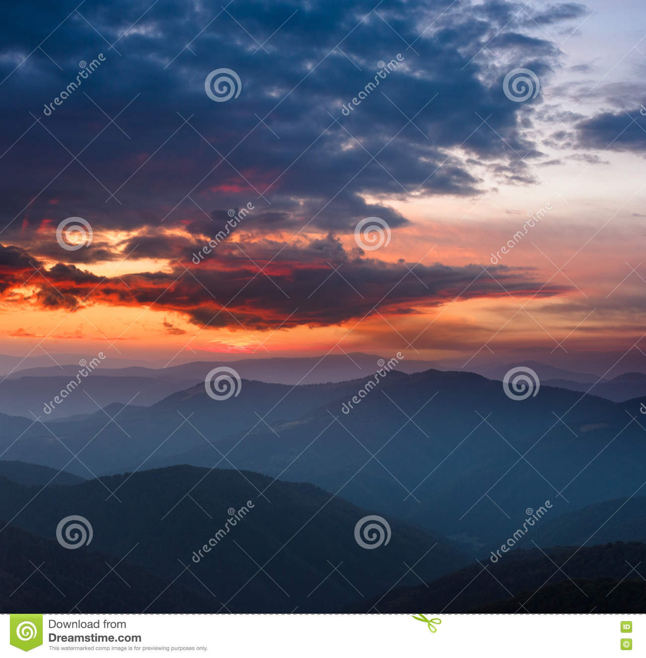 Download Beautiful Panoramic Sunset In The Mountains Landscape Stock Image
