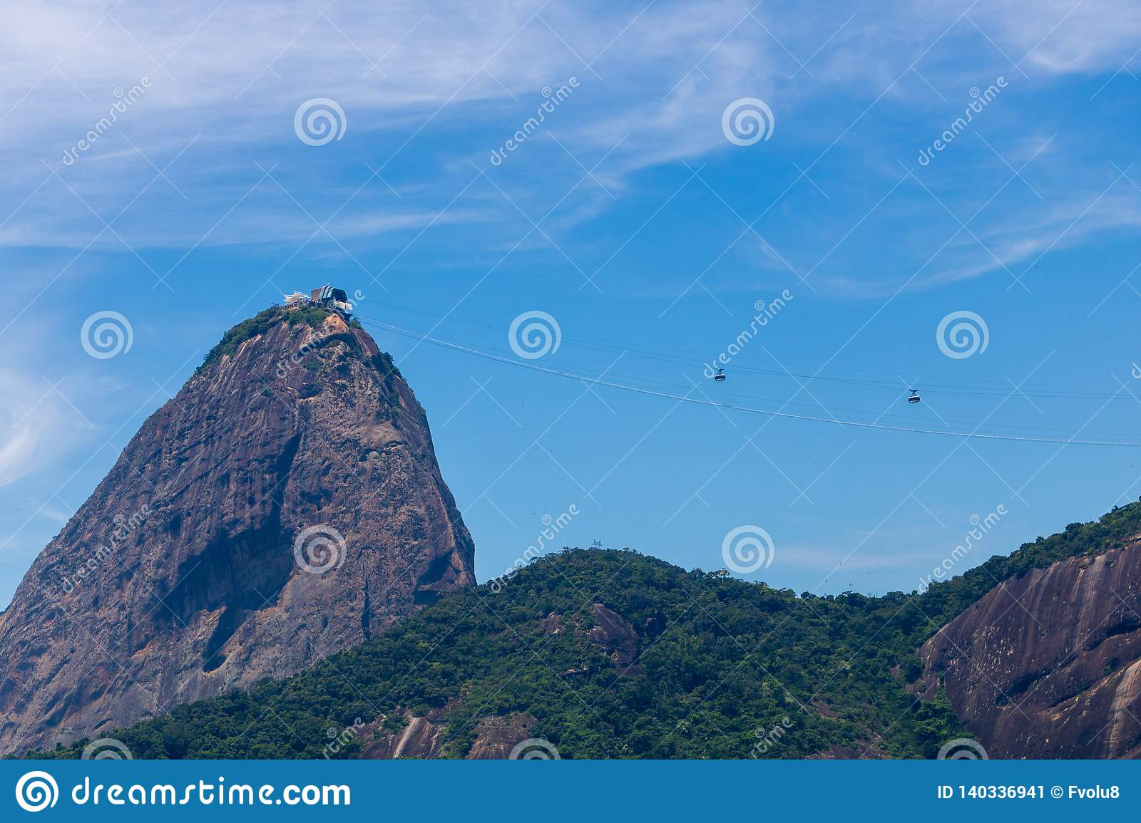 Beautiful panoramic view of the Sugar Loaf mountain in Rio de Janeiro, Brazil, on a beautiful and relaxing sunny day with blue sky