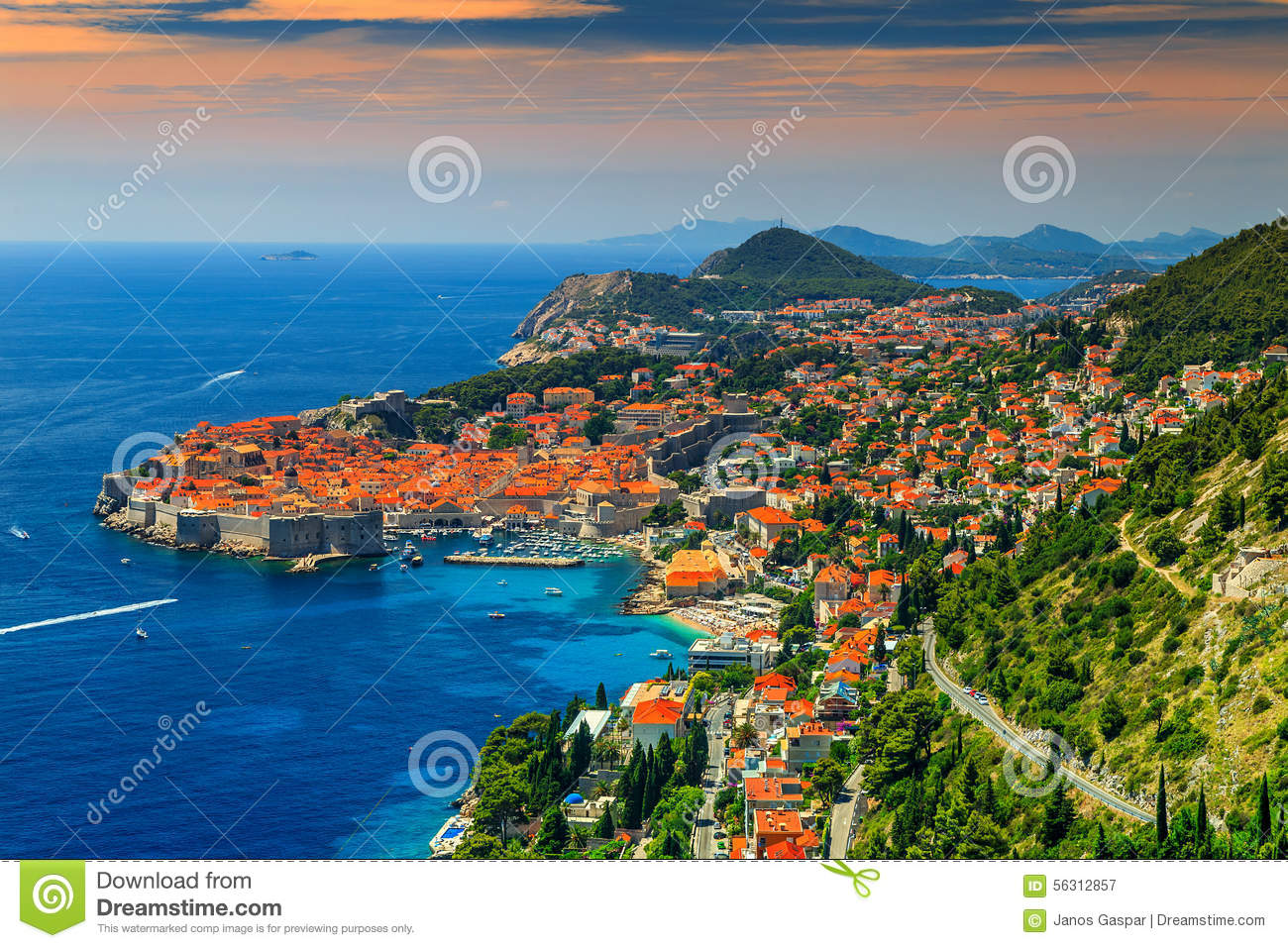 Beautiful panoramic view of the walled city,Dubrovnik,Dalmatia,Croatia