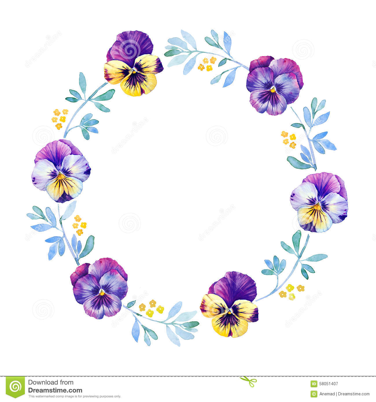 Beautiful Pansy Flower Watercolor Wreath Stock Illustration - Image ...