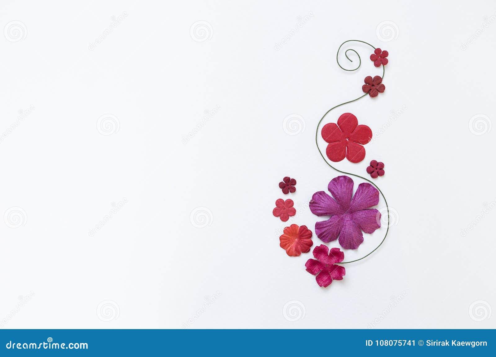 Beautiful Paper Flower Arrangement On White Paper Texture Background