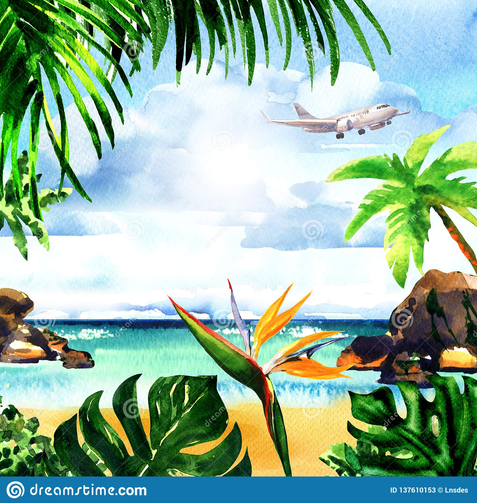 Tropical Island Paradise: Beautiful Paradise Tropical Island With Sandy Beach, Palm