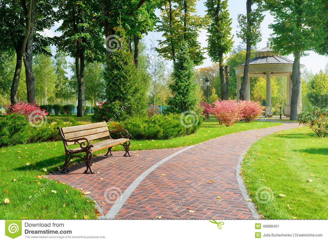 beautiful park with bench stock image image of park