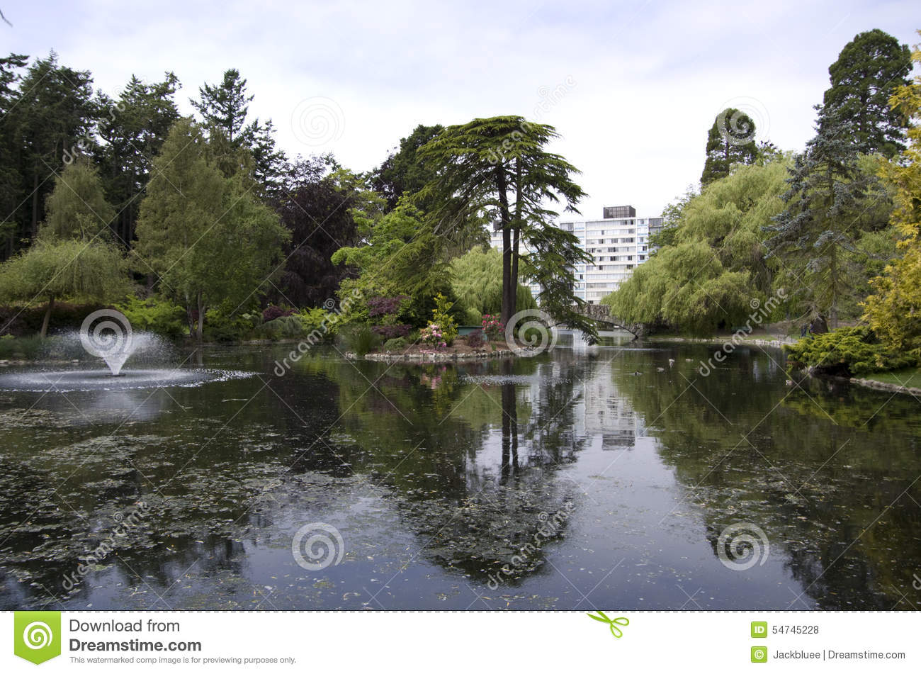 Beautiful park with pond and tree reflections stock photo for Garden design victoria bc
