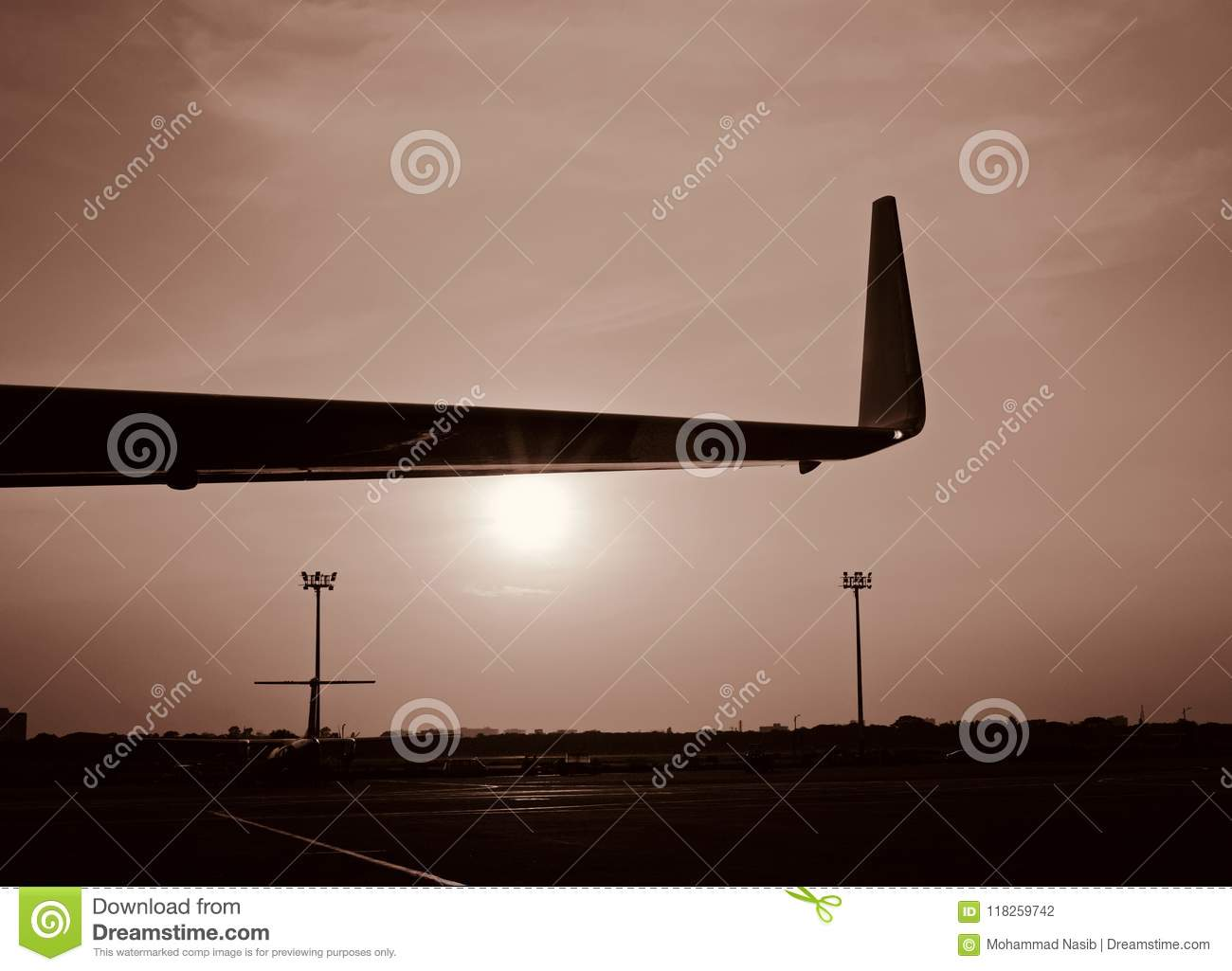 Download A Beautiful Part Of An Aircraft Wings In The Afternoon Photo Stock Photo - Image of photo, part: 118259742