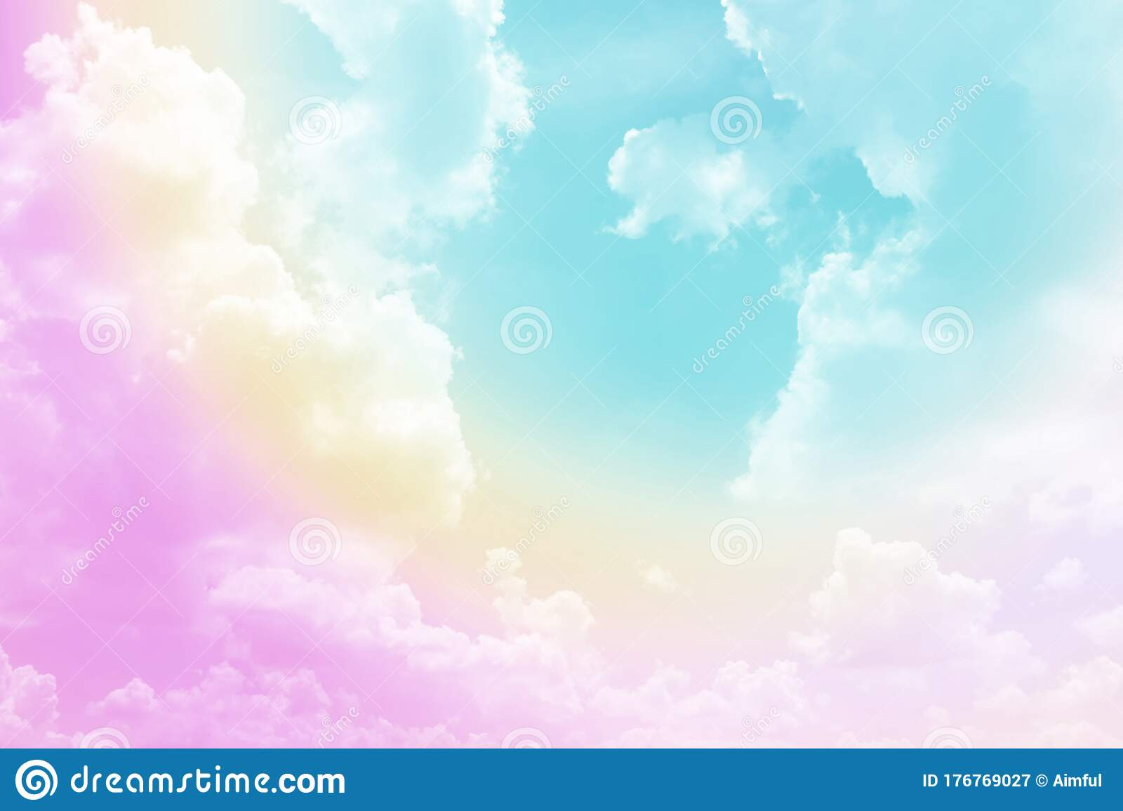 Beautiful Pastel Color With Rainbow Shade On White Fluffy Clouds Colorful Blue Sky On Background Upward View And Copy Space Stock Image Image Of Blue Color 176769027