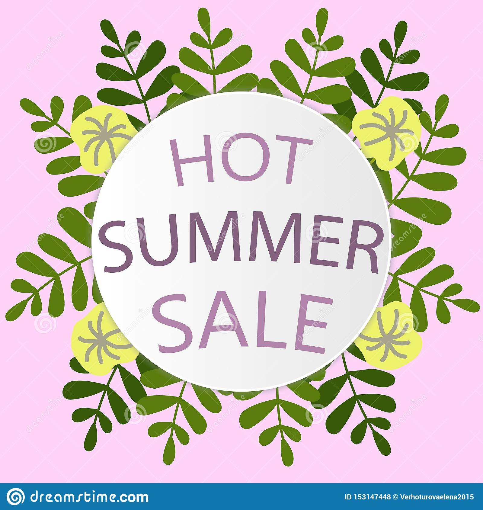 Beautiful Pattern With Green Tropical Leaves Summer Sale On Colorful Background Sale Banner Design Fashion Stock Vector Illustration Of Design Background 153147448