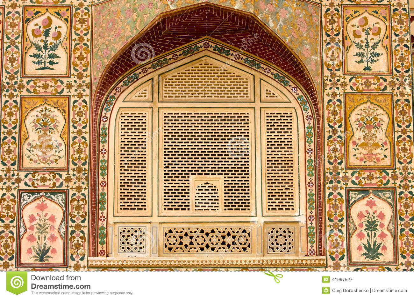 Beautiful Pattern On The Palace Wall Jaipur India Stock