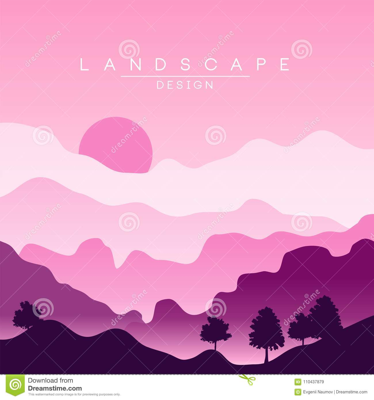 Purple Mountain Sunset Stock Illustrations – 516 Purple ...