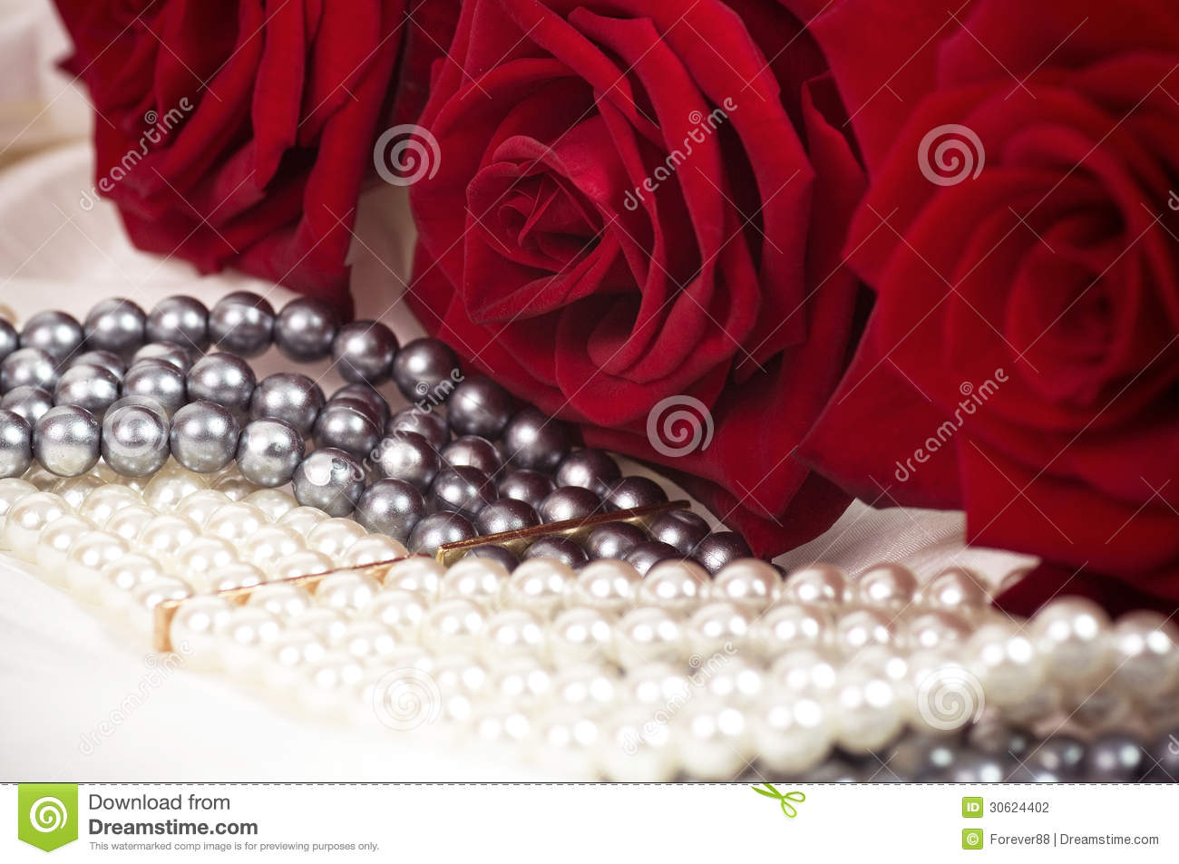 Beautiful Pearl Necklace And Red Roses Stock Photo - Image ...