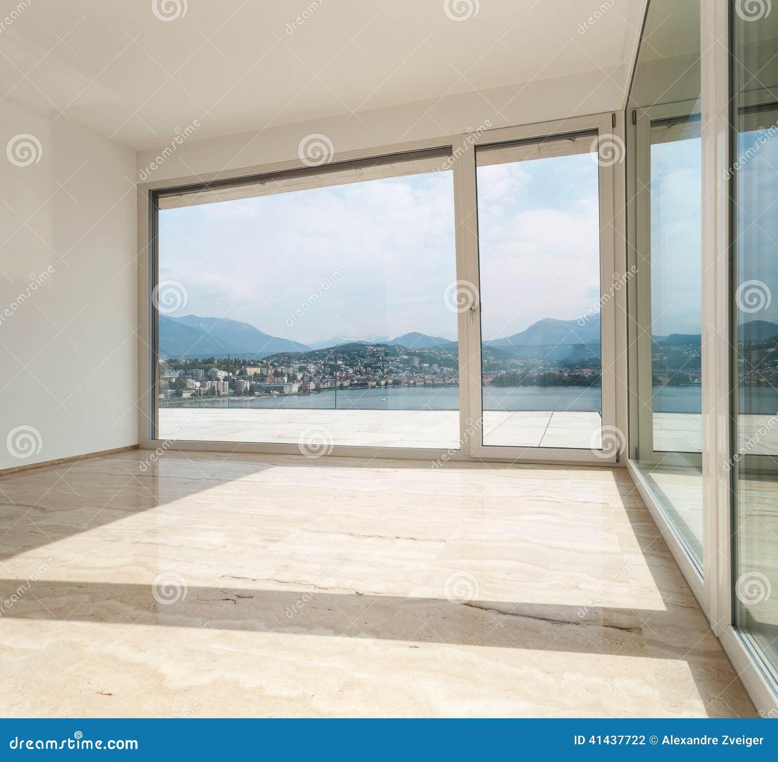 Empty Living Room: Beautiful Penthouse, Empty Living Room Stock Photo