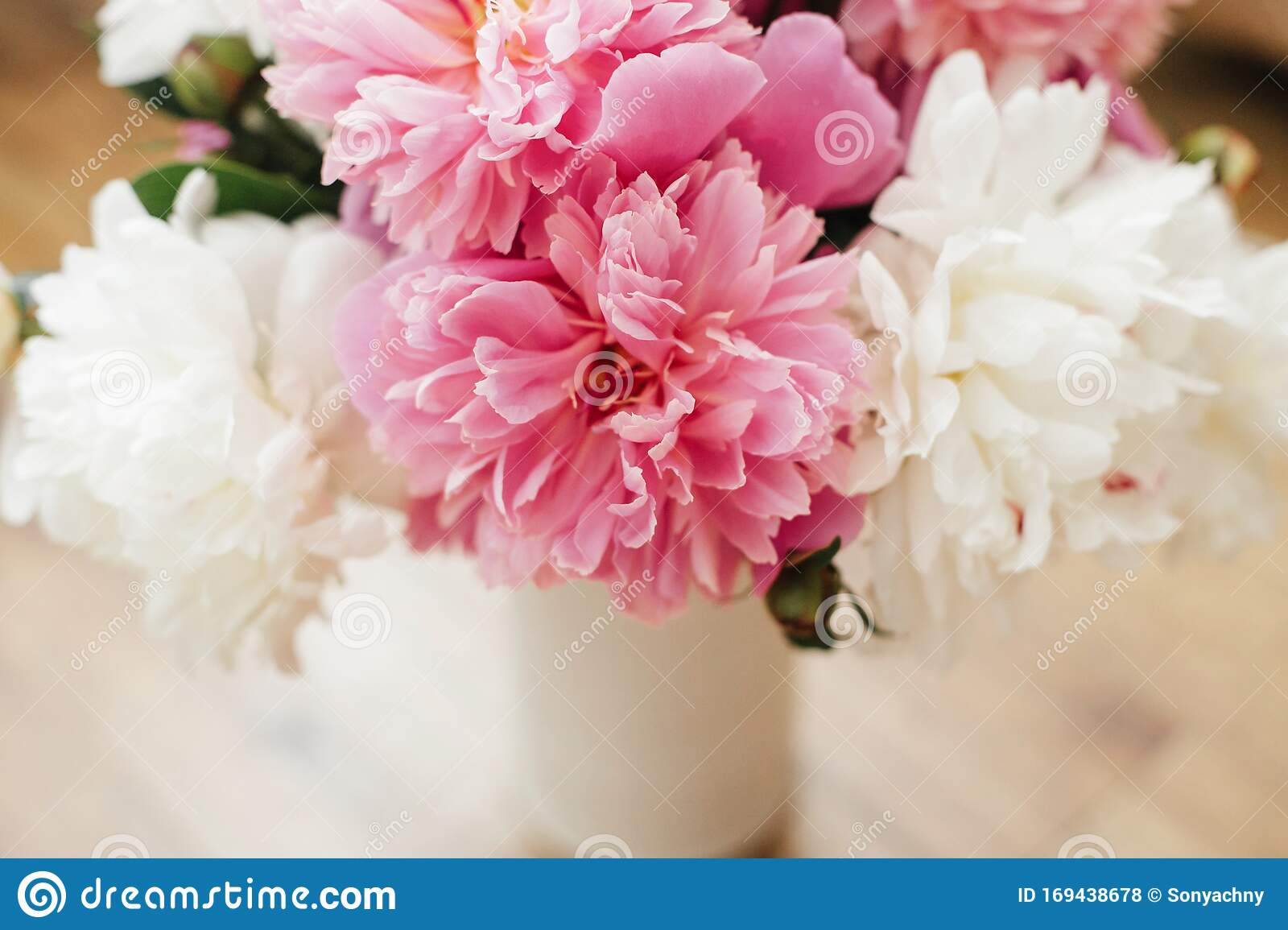 Beautiful Peony Bouquet In Modern Vase Stylish Pink And White Peonies On Wooden Background Hello Spring Happy Mothers Day Stock Photo Image Of Peony Leaf 169438678