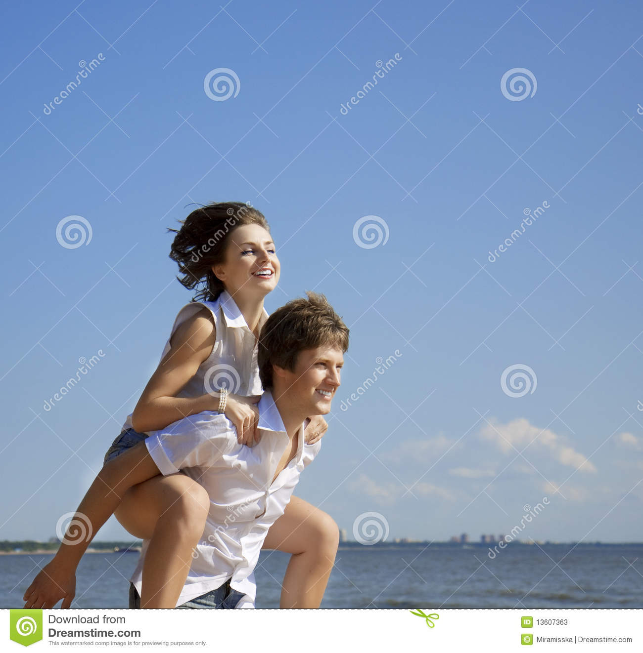 Beautiful People In Love On The Beach Stock Image