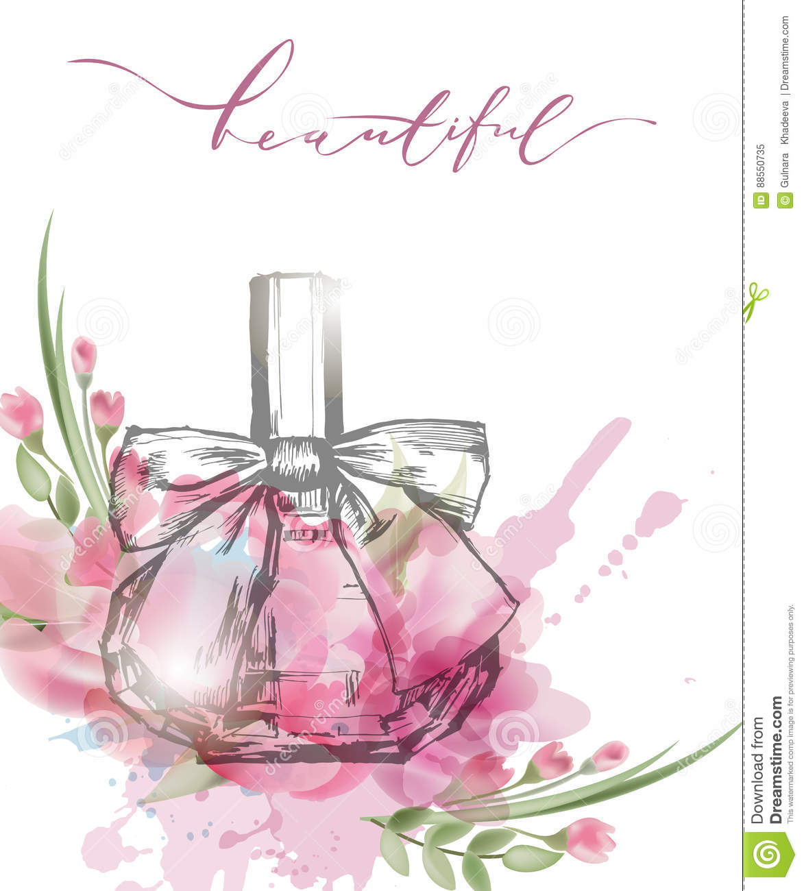 Beautiful Perfume Bottle With Blooming Beautiful Pink Flowers