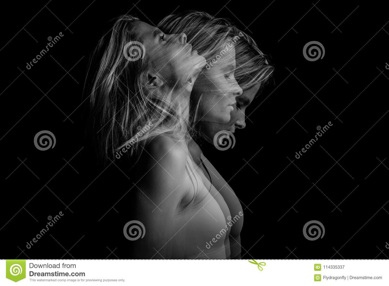 Beautiful phantom mystical mysterious ambiguous original conceptual profile side portrait of young blonde woman on a