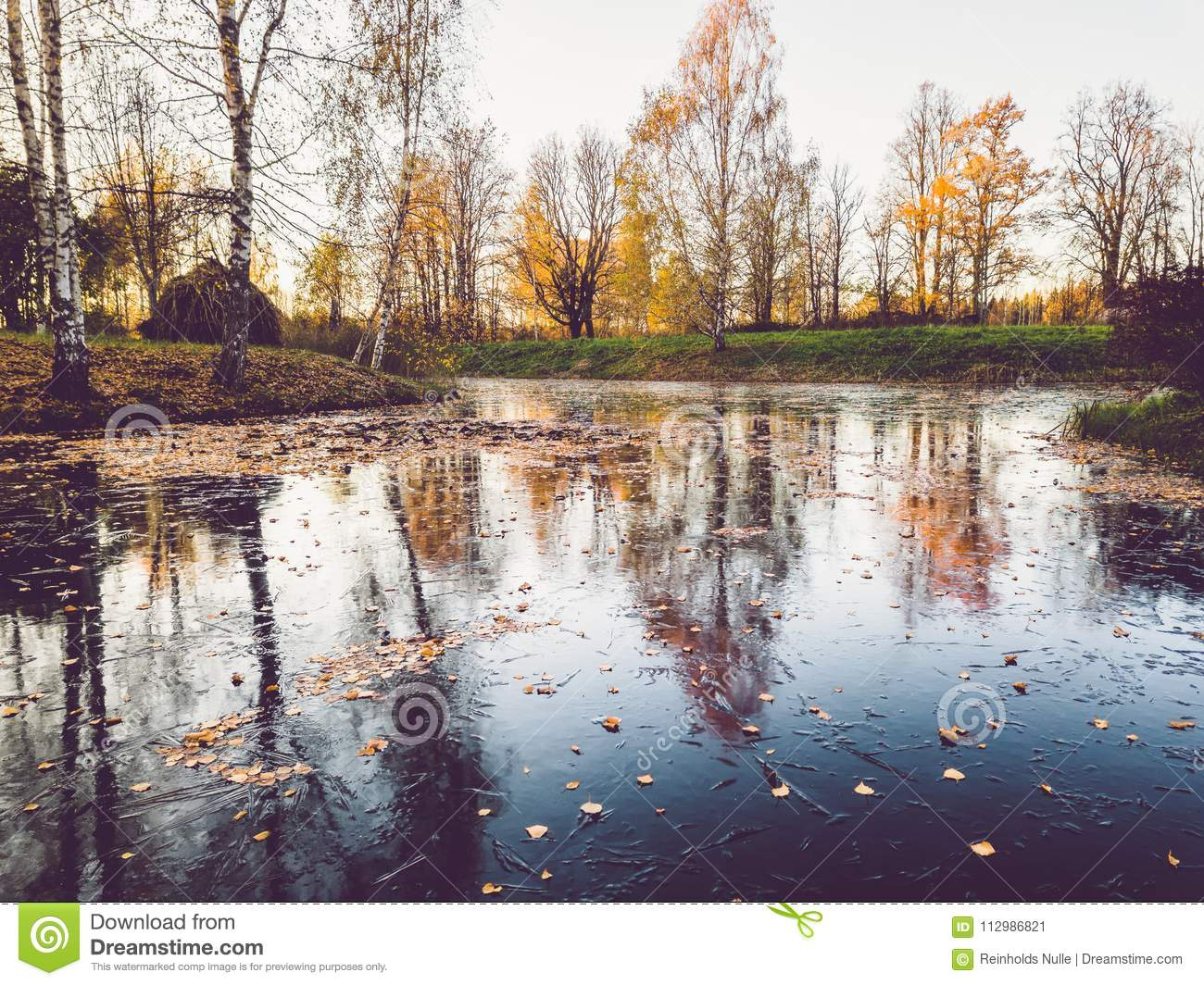 Photo of a Frozen Lake in an Autumn Day - vintage look edit