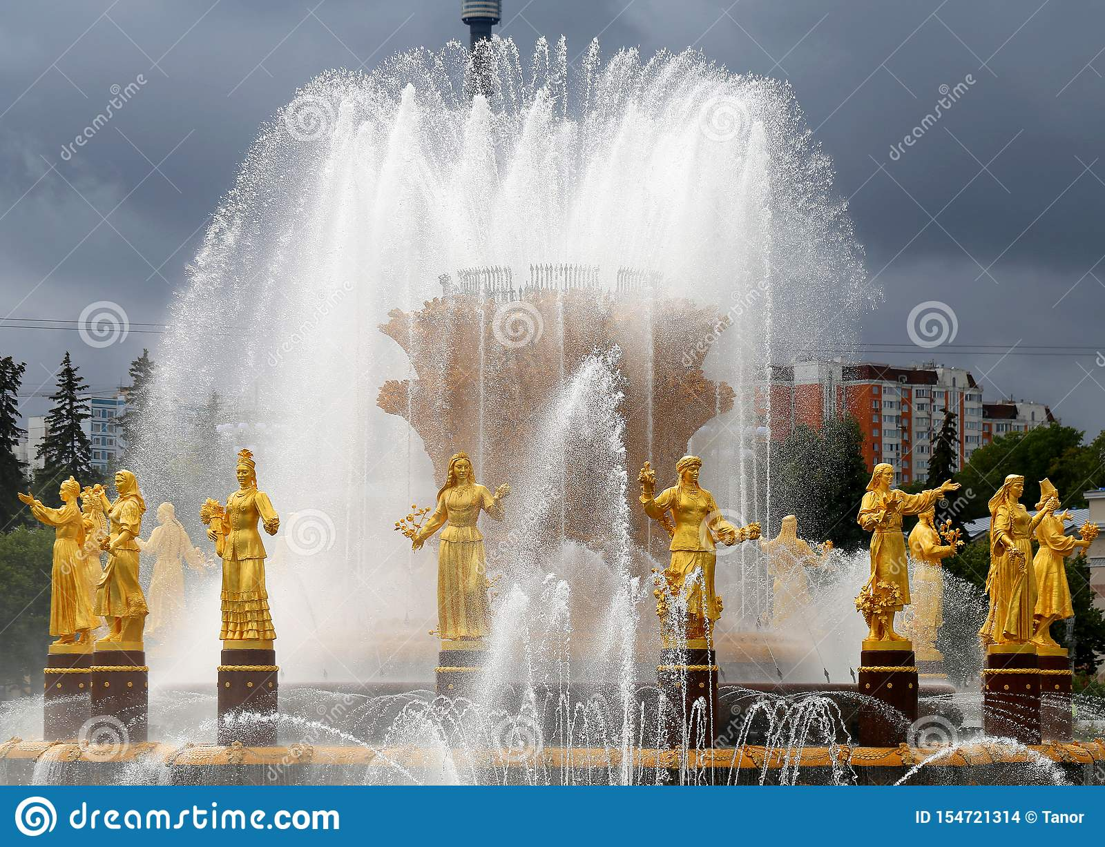 Beautiful photo of the golden fountain Friendship of Peoples